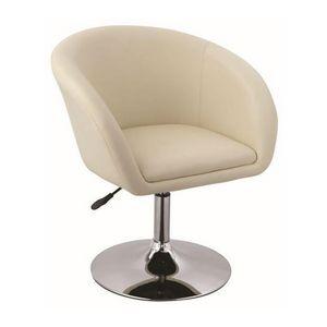 WHITE LABEL - fauteuil lounge pivotant cuir beige - Fauteuil Rotatif