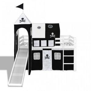 WHITE LABEL - lit mezzanine blanc avec échelle toboggan et déco noir - Lit Enfant
