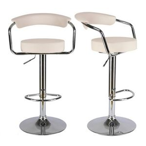 WHITE LABEL - lot de 2 tabourets de bar en cuir pu crème - Chaise Haute De Bar