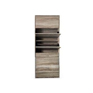 WHITE LABEL - meuble armoire à chaussure bois tiroirs - Meuble À Chaussures