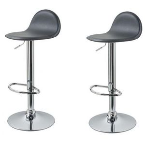 WHITE LABEL - lot de 2 tabourets de bar gris - Chaise Haute De Bar
