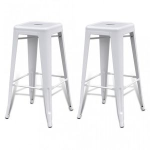 WHITE LABEL - lot de 2 tabourets de bar factory blanc - Tabouret De Bar