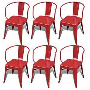 WHITE LABEL - 6 chaises de salle à manger acier factory - Chaise