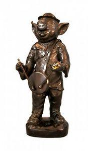Demeure et Jardin - cochon musicien en bronze - Statuette