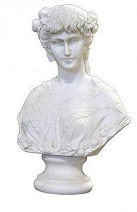 Demeure et Jardin - buste femme 18éme marbre blanc - Buste