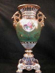 Demeure et Jardin - grand vase vert et or - Vase Décoratif