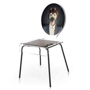 ACRILA - chaise graph acrila piètement métal - Chaise