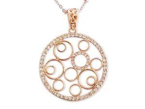 WHITE LABEL - collier élégant avec multiples cercles dorés et st - Collier