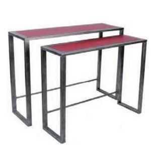 Mathi Design - console métal acier et bois rouge - Console