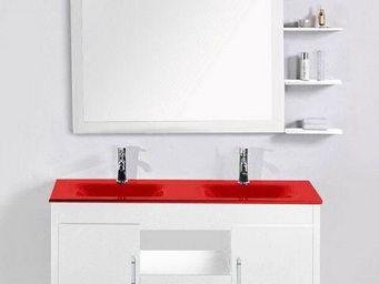 UsiRama.com - meuble 2 vasques rouge 120cm guerrier blanc 120cm - Meuble Double Vasque