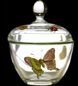 Au Bain Marie - confiturier cristal décor papillons - Confiturier