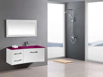 UsiRama.com - meuble salle de bain design lc 100cm vasque verre - Meuble De Salle De Bains