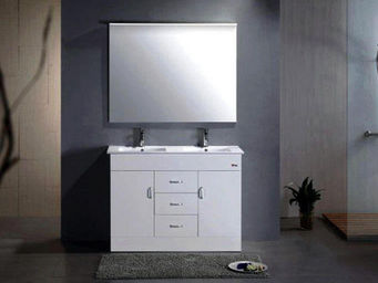 UsiRama.com - meuble salle de bain 2 vasques simple-beau 1.2m - Meuble Double Vasque