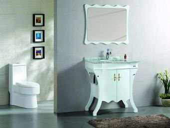UsiRama.com - meuble salle de bain en bois massif prince 80cm - Meuble Vasque
