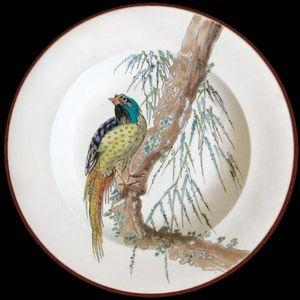 Au Bain Marie - assiette en t�le vieillard faisan - Assiette D�corative