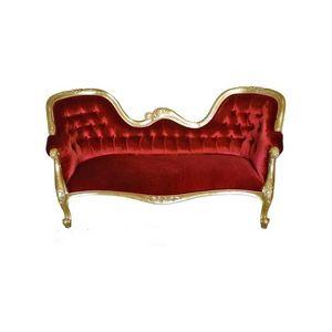 DECO PRIVE - canapé baroque doré et rouge - Canapé 3 Places