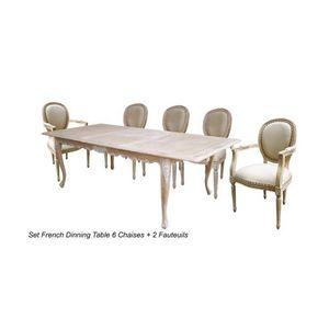 DECO PRIVE - table de salle à manger en bois cérusé lion - Table De Repas Rectangulaire