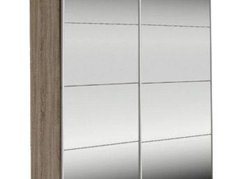 WHITE LABEL - dressing kick 152cm miroir et cadre chene fonce av - Armoire � Portes Coulissantes