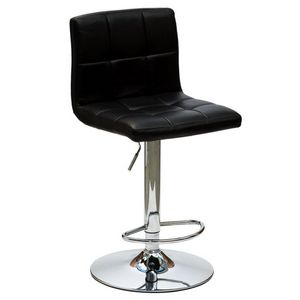 WHITE LABEL - chaise de bar jazz design en simili cuir noir - Chaise Haute De Bar