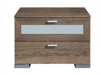 WHITE LABEL - chevet design gallery 2 tiroirs en chene fonce et  - Table De Chevet