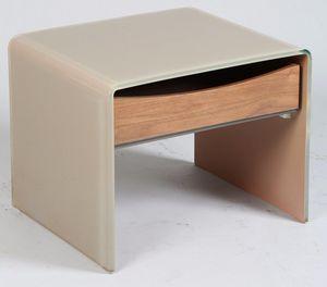 WHITE LABEL - bout de canaopé chevet loft en verre taupe 1 tiroi - Table De Chevet