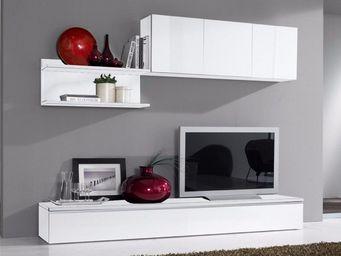 WHITE LABEL - composition murale tv design fortino blanche - Meuble Tv Hi Fi