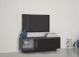 WHITE LABEL - meuble tv design treviso laqué noir - Meuble Tv Hi Fi