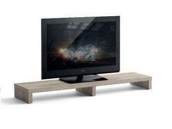 WHITE LABEL - meuble tv design brooklyn chêne gris - Meuble Tv Hi Fi