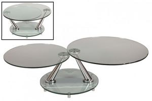 WHITE LABEL - table basse design circle ronde double plateaux - Table Basse Forme Originale