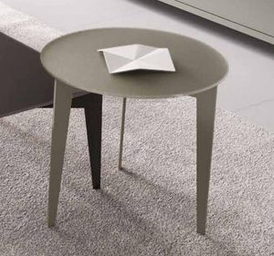 WHITE LABEL - table basse design dallas ronde verre taupe - Table Basse Ronde