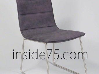 WHITE LABEL - chaises design dodge façon cuir mauve piétement mé - Chaise