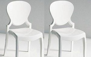 WHITE LABEL - lot de 2 chaises design light en plexiglas blanche - Chaise