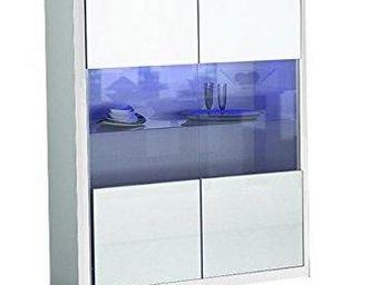 WHITE LABEL - vitrine mito blanche avec 2 portes - Buffet Haut