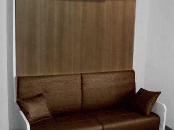 WHITE LABEL - armoire lit space sofa blanche, façade chêne de fi - Lit Escamotable