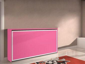 WHITE LABEL - armoire lit transversale city, fushia encadrement  - Lit Escamotable