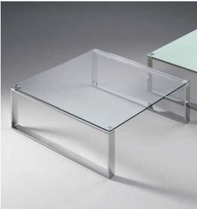 WHITE LABEL - table basse zoe design en verre carré - Table Basse Carrée