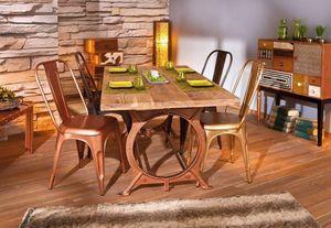 WHITE LABEL - table repas industrielle o tone en bois massif - Table De Repas Rectangulaire