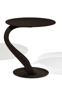 WHITE LABEL - bout de canapé tom design chocolat ovale en verre  - Bout De Canapé