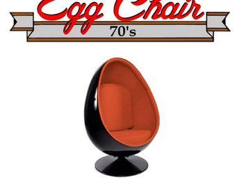 WHITE LABEL - fauteuil pivotant oeuf, egg chair coque noir / int - Fauteuil