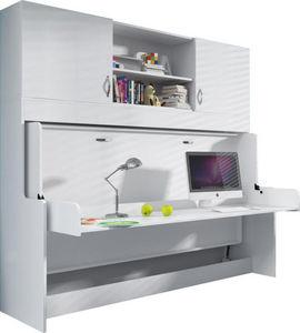 WHITE LABEL - bureau amovible avec lit combiné escamotable 90x20 - Bureau Enfant