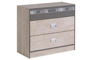WHITE LABEL - commode � 2 tiroirs pour enfant coloris bois et gr - Commode Enfant
