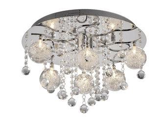WHITE LABEL - lustre-plafonnier 6 lampes en cristal ultra design - Lustre