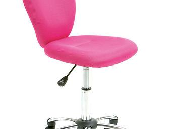 WHITE LABEL - chaise de bureau pour enfant pivotante coloris ros - Chaise De Bureau