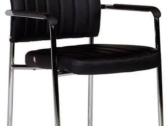 WHITE LABEL - chaise noire ultra moderne avec accoudoirs - Chaise De Bureau