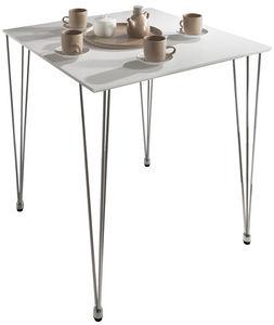 COMFORIUM - table carrée design 80 cm coloris blanc mat - Table De Repas Carrée