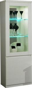 COMFORIUM - vitrine à 1 porte coloris blanc avec led intégré - Vaisselier