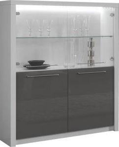 COMFORIUM - vitrine moderne à 2 portes coloris blanc et gris l - Vaisselier