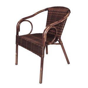 COMFORIUM - lot de 4 fauteuils en osier de couleur marron - Fauteuil De Jardin