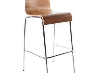 KOKOON DESIGN - tabouret de bar en bois zebrano et en m�tal chrom� - Chaise Haute De Bar