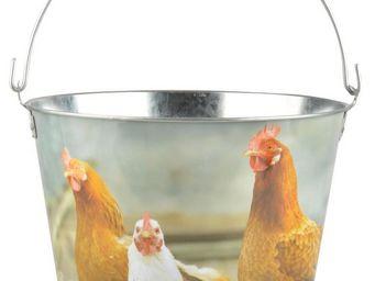 Esschert Design - seau poule en zinc et bois - Seau